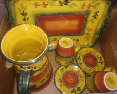 Summer dish set for 2 serving& tray. tabletop La Provence