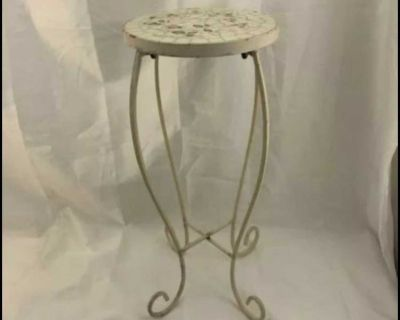 Vintage Metal Iron Plant Stand With Ceramic Top 23 h X 13 w White Floral Top