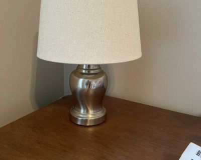 Small table lamp with brand new shade from Target. Approx 14 with shade on. $10