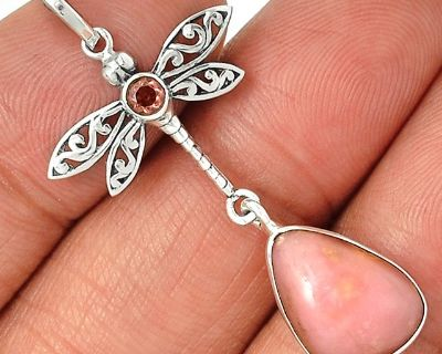 New - Dragonfly Peruvian Pink Opal and Pink Kunzite 925 Sterling Silver Pendant (Includes a chain)