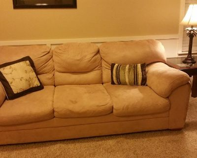 Light beige sofa and loveseat