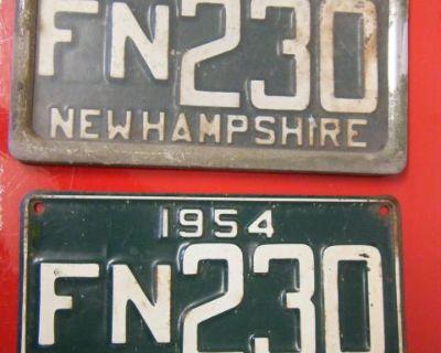License Plate Set New Hampshire 1954