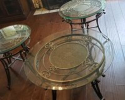 Coffee and End Tables, Metal and Glass Tables