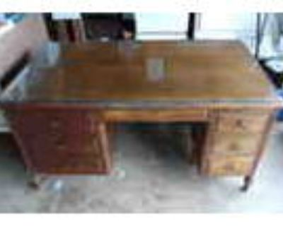 Solid Wood Desk Leaded Glass Top