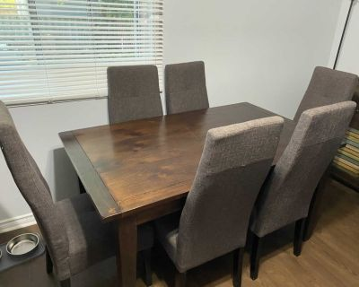 Dining table, chairs, and buffet