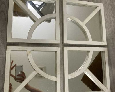 Set of Four White Distressed Mirrors Like New