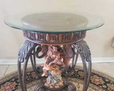 (Angel not included)Good Used Condition!! Set of 2 Beautiful wood ,metal and glass top end tables