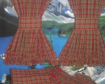 VW Red Plaid Curtains with Cabin Divider