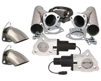 "Qtp Qtec50cpsk1 Dual 2.5"" Electric Exhaust Valves Stainless Cutouts Turn Downs"