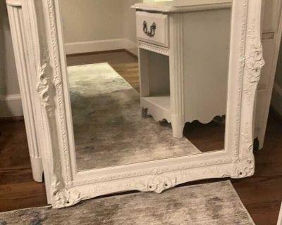 White Dresser nightstand and mirror