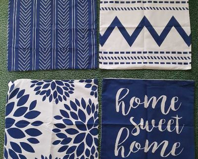 Blue Throw Pillow Covers Set of 4 ( NOTE CROSSPOSTED)