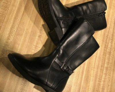 NWOT black faux leather buckle knee boots