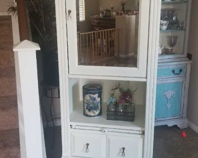 Vintage Shabby Chic Cabinet With Mirror