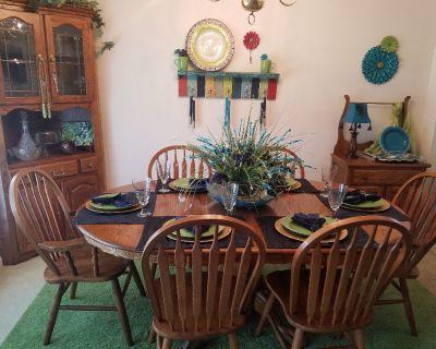 Dining rm set,corner china cabinet, wash stand, china