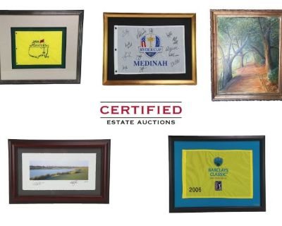 Stunning Collection of Fine Artwork Featuring Tiger Woods Signed Flag and More!