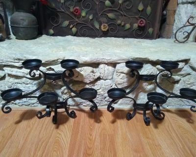 Two Beautiful Wrought Iron Candle Holders - All