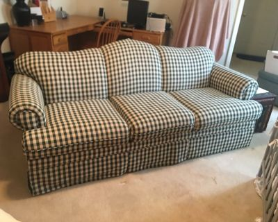 Green and Ivory checked sofa
