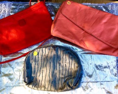2 Nice Leather Purses & 1 Dressy Satin Beaded handbag