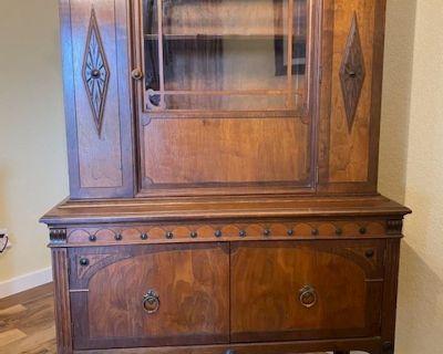 Vintage 1930 s Jacobean Style Breakfront Cabinet