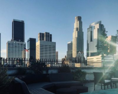 Downtown Rooftop Garden Lounge with Skyline View, Los Angeles, CA