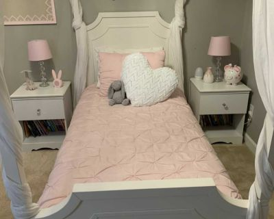Pottery Barn Ava Canopy twin bed with trundle