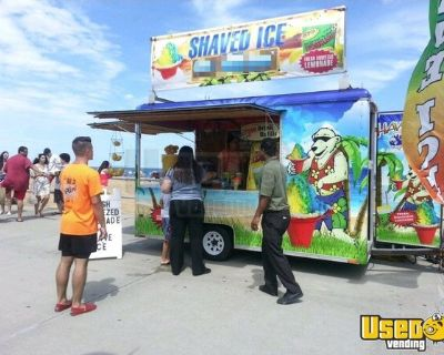 7' x 12' Wells Cargo Shaved Ice Snowball Concession Trailer w/ Flavor Station & Block Ice Maker
