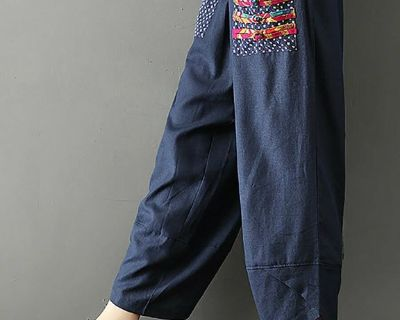 ZARA Casual Cotton Blue with Painted Tribal Pockets Pants