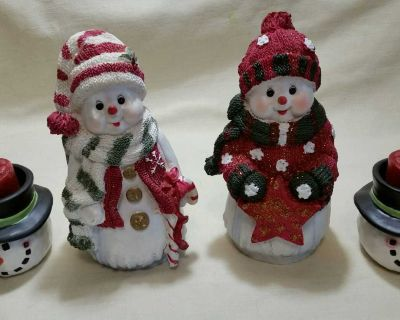New 2 Snowpeople & 2 New Yankee Candle Holders .So very festive & many uses!