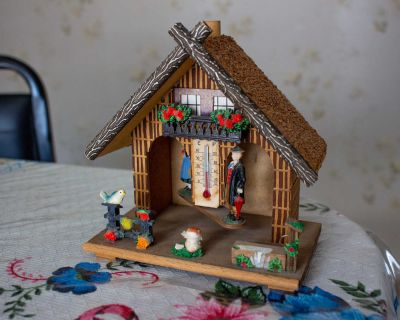 Vintage German Wooden Thermometer House