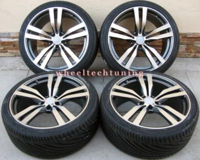 """22"""" Bmw X6 M Style X5 3.0, 4.4, 4.8 Staggered Wheels And Tires - Bmw X5 X6 Rims"""