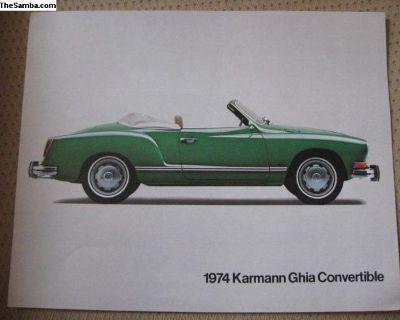 Vintage 1974 Ghia Convertible spec sheet