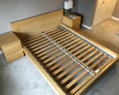 Queen Bed Frame & Side Tables