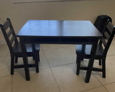 Children s wooden table and two chairs