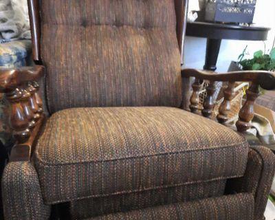 Comfy brown rocking recliner