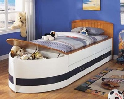 Boat bed with trundle and storage