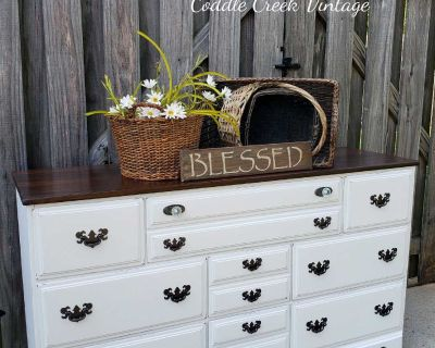 Charming refinished vintage farmhouse dresser, buffet or console table