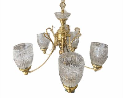 5-Light Shaded Tiered Aged Brass Chandelier