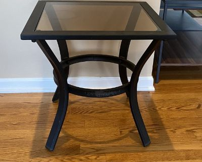 Outdoor Glass & Metal Side Table