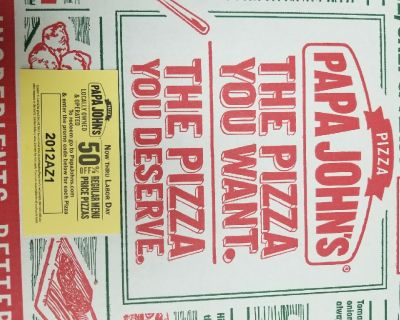 50% off your papa johns pizzas