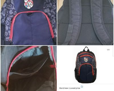 Super Mario Backpack 18inch Book Bag W Laptop Sleeve Black One Size