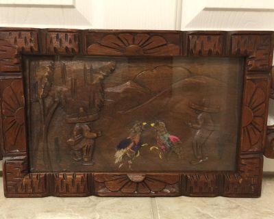 Carved Wood Mexican Scene