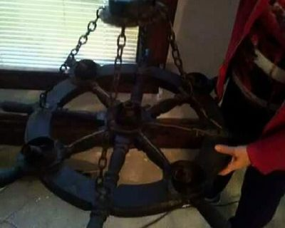 Vintage, wooden shipwheel chandelier