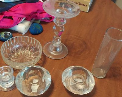 Glass candle holders and container