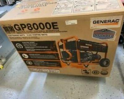 Generator brand new unopened electric start generac 8000 to 10.000