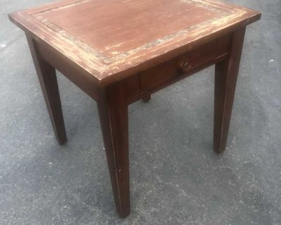 Distressed wood and tile end table