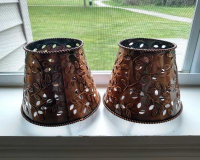 (2) Bronze Toned Metal Candle Lamp Shades