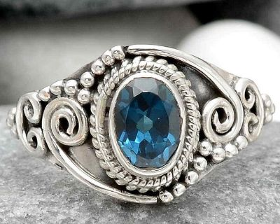 New - London Blue Topaz 925 Sterling Silver Ring - Size 6