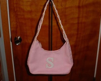 Vintage Women's Stylish Hot Pink Letter S Monogram Purse Handbag. Features Zip Closure, Interior Large Opening With A Zipper Pocket. $7