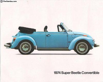 1974 Super Beetle Convertible Fact Sheet Brochure