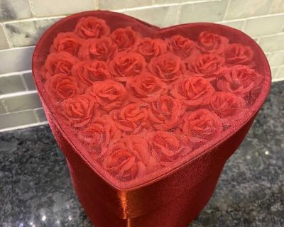 Red Satin & Roses Heart-Shaped Box from Pier 1 Imports